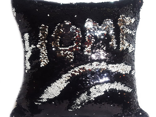 Magic sequin mermaid reversible two tone glitter home car sofa cushion or cover black