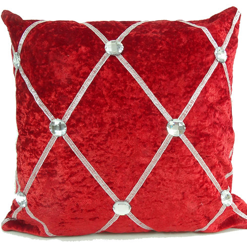 Crush velvet Chesterfield Diamante cushions-Red