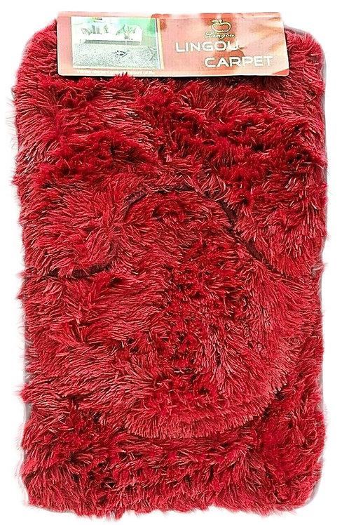 3 piece Bath Pedestal Mat set shaggy fur Soft Anti Slip WINE