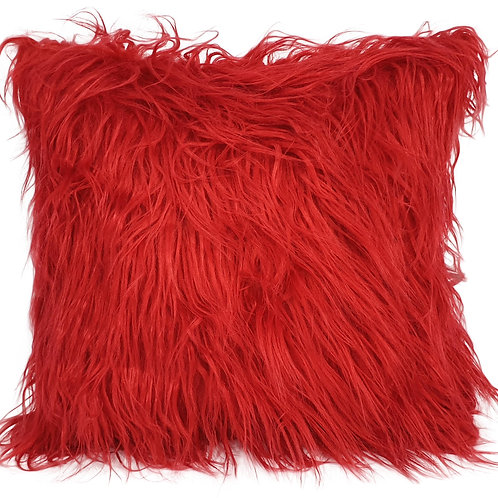 long Shaggy faux fur cushions or covers RED