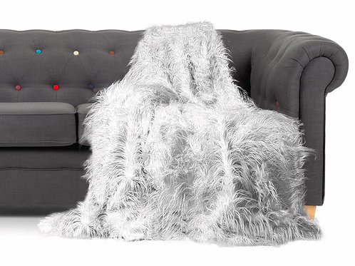 Shaggy Long Faux Fur Throw over Sofa Bedspread Fluffy 150x200cm WHITE