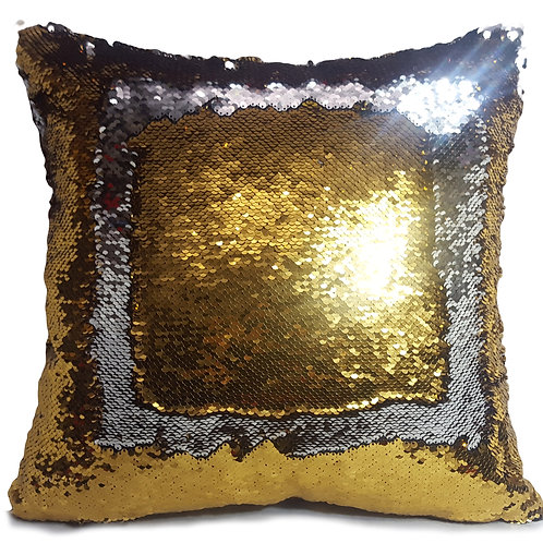 Magic sequin mermaid reversible two tone glitter home car sofa cushion or cover gold