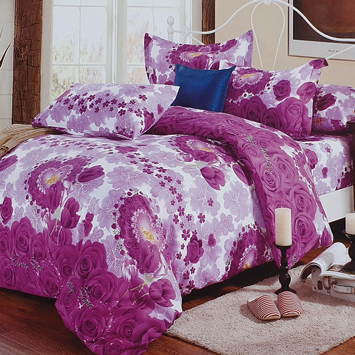 Duvet Cover set 90 GSM quality Double King size Roses heart Purple
