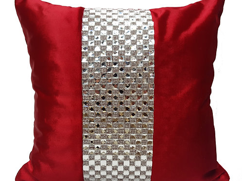 Designer cushions velvet Square diamante Red
