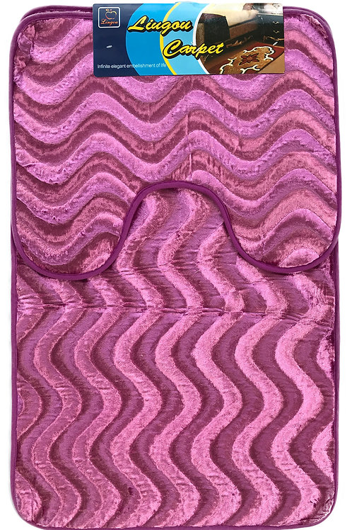 Anti Slip Bath Pedestal Mat set wavy shimmery velvet PURPLE