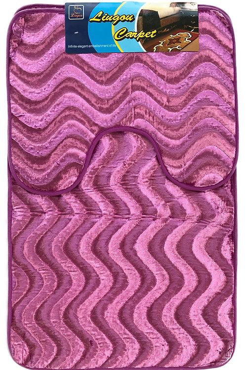 Anti Slip Bath Pedestal Mat set wavy shimmery velvet PURPLE