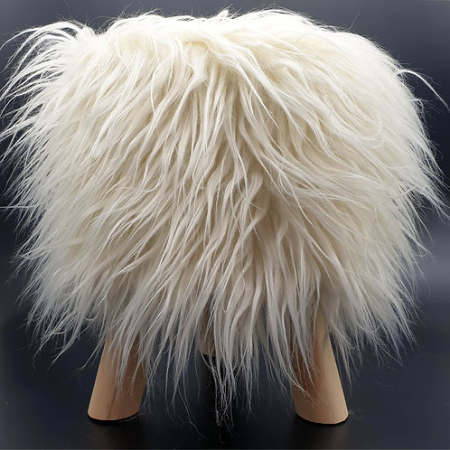 Shaggy Faux Fur Foot stool Ottoman Padded Wooden stool ROUND CREAM