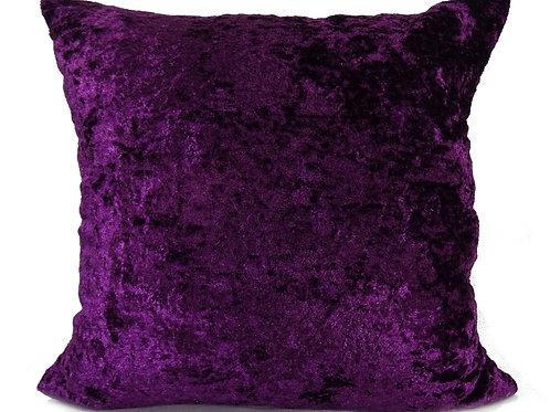 """Plain Crush Velvet Cushions Purple 17""""x 17"""""""