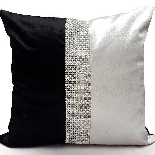 Designer cushions velvet Pearl diamante White_Black