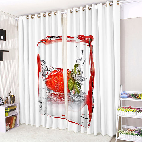 Pair of Eyelet Ring Top Curtains 3D Strawberry