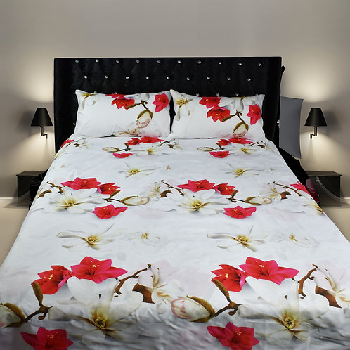 Daisy red white 3D Duvet cover set Double King Size