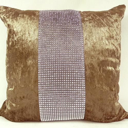 Large Cushions diamante Lace crush velvet -Beige