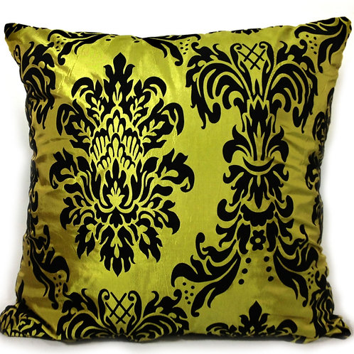 "Flock Damask cushions Green,17""x 17"",21""x 21"",23""x 23"""