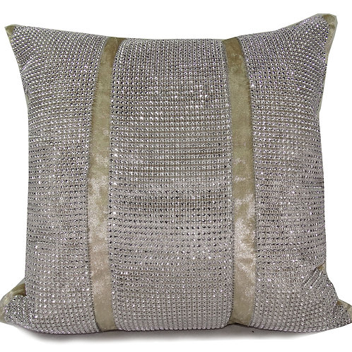 Full diamante Lace crush velvet cushions-Cream