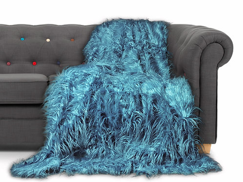Shaggy Long Faux Fur Throw over Sofa Bedspread Fluffy 150x200cm TEAL
