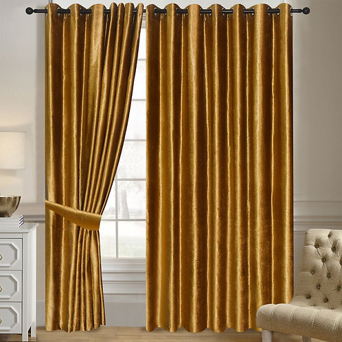 NEW Velvet Ring Top Eyelet Curtains Lined Gold