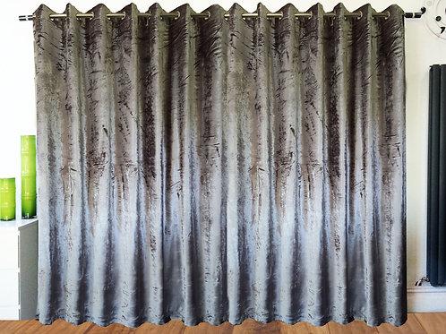 Crush Velvet ring top eyelet lined curtains Silver