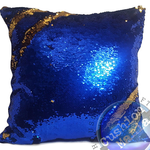 Magic sequin mermaid reversible two tone glitter home car sofa cushion or cover Royal blue silver