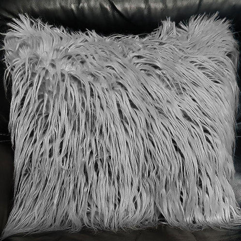 Long Shaggy Faux fur Cushion covers or Cushions Winter cushions Silver