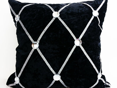 Crush velvet Chesterfield Diamanté cushions-Black