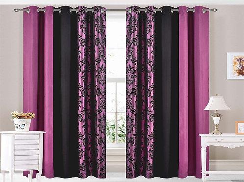 Damask Three Tone Eyelet Ring top Curtains Purple