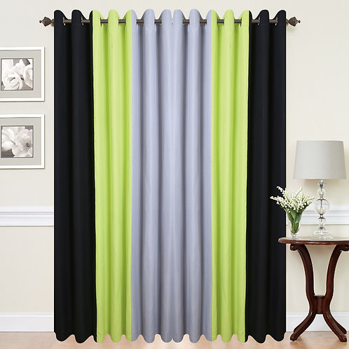 Three Tone Eyelet Ring Top Curtains Green