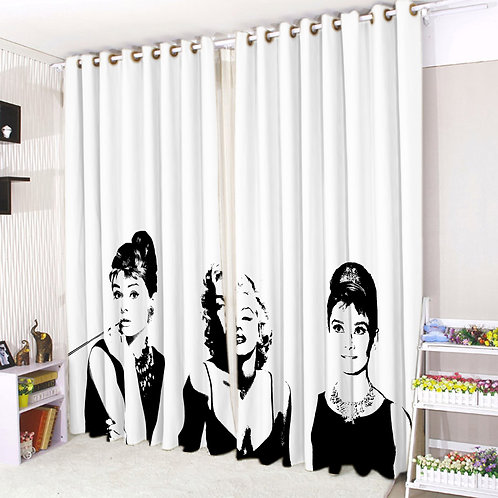 Pair of Eyelet Ring Top Curtains 3D Celebrity Icons