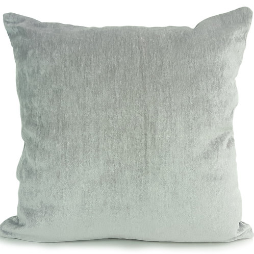 "Plain Soft Chenille Cushions or covers Silver 17""x 17"""