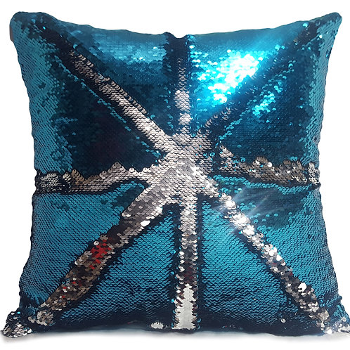 Magic sequin mermaid reversible two tone glitter home car sofa cushion or cover Teal