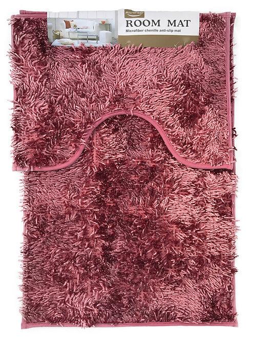 Sparkle chenille Bath and Pedestal Mat Sets Anti Slip Dusky pink