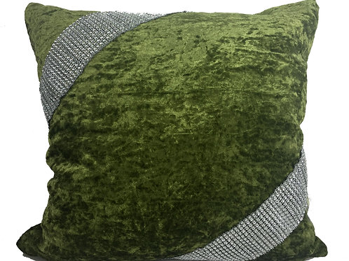 Crush velvet Cross Lace Diamante cushions-Green