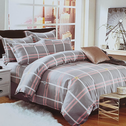 Duvet Cover set 90 GSM quality Double King size Pink Grey Checks