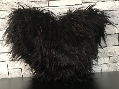 Love HEART SHAPED long Shaggy faux fur Filled cushions BLACK