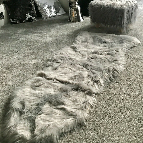 Soft Fluffy PLAIN Faux Fur Rugs Carpet Mat 60cm X 130cm Silver