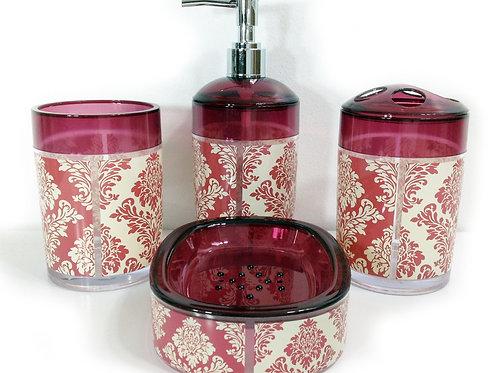 Damask Bathroom Accessories Set Pink