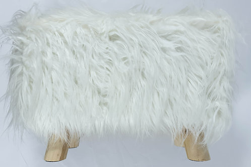 Shaggy Faux Fur Foot stool Ottoman Padded Wooden stool Rectangle White