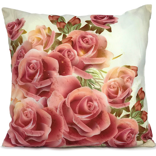 "Soft Velvet Effect Cushions or Covers FLORAL 17""X17"" Bunch of Roses"