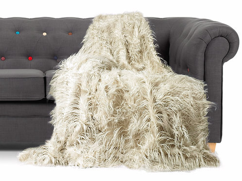 Shaggy Long Faux Fur Throw over Sofa Bedspread Fluffy 150x200cm CREAM