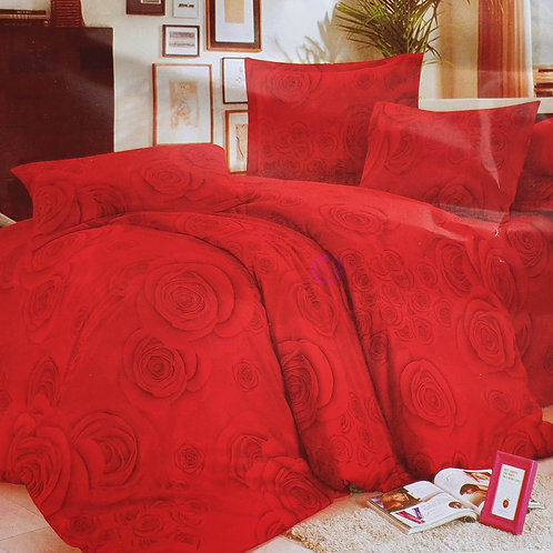 Duvet Cover set 90 GSM quality Double King size Roses RED
