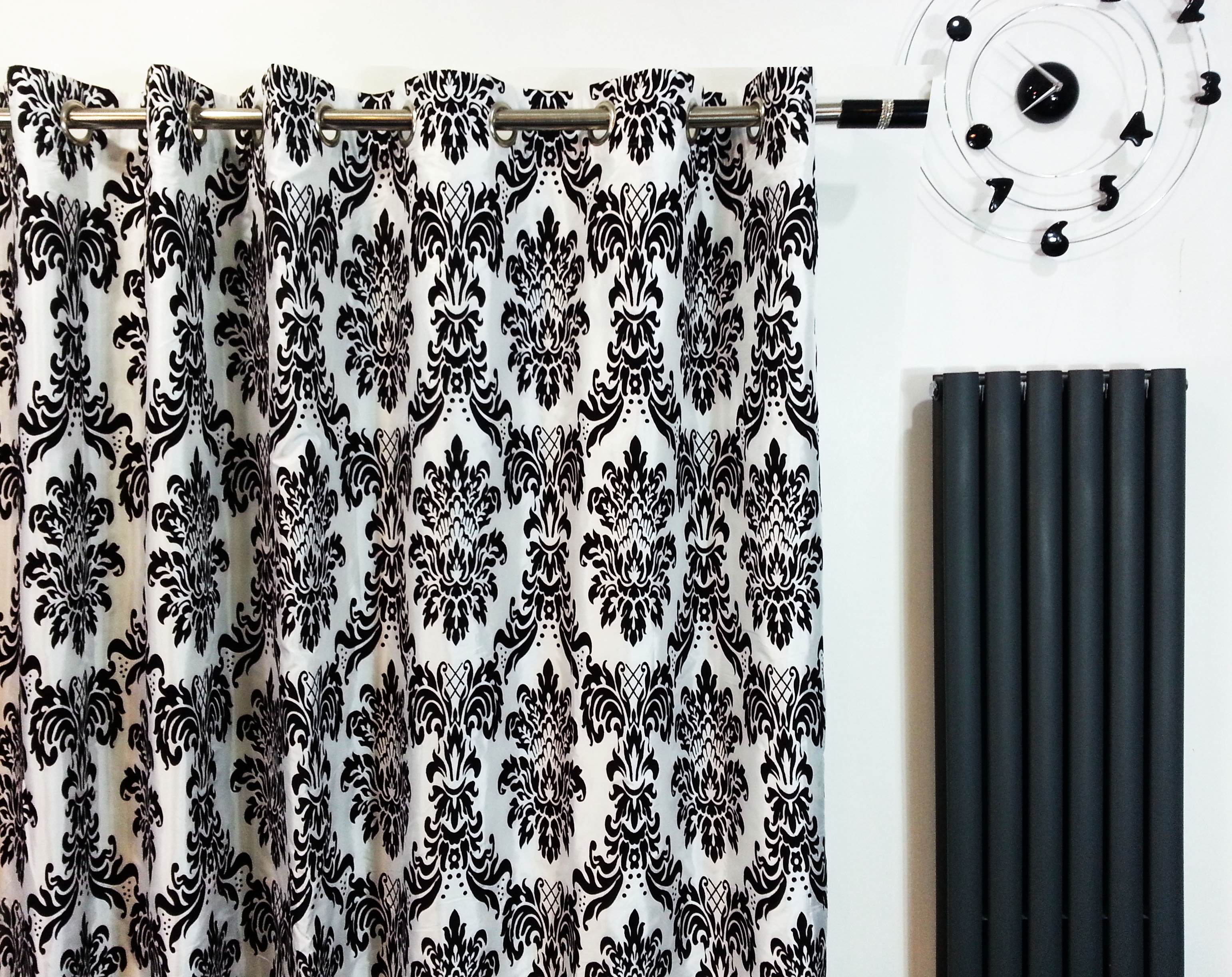 Black and white damask shower curtain - Full Damask Eyelet Ring Top Curtains Black White Closer View