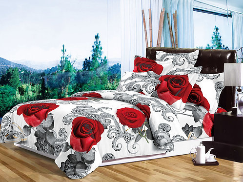 Roses red white 3D Duvet Cover Set Double ,Kingsize