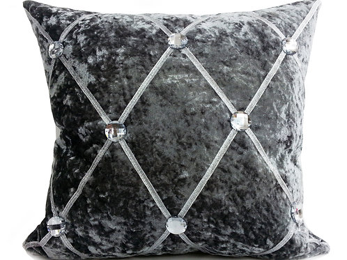Crush velvet Chesterfield Diamante cushions-Silver