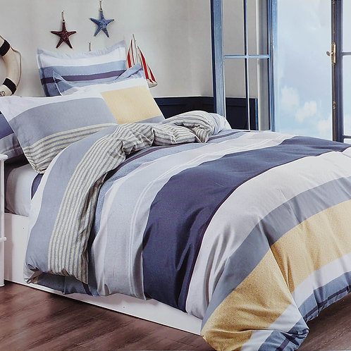 Duvet Cover set 90 GSM quality Double King size Stripe Blue Mustard