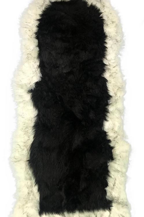 Soft Fluffy PLAIN Faux Fur 2 tone Rugs 60cm X 130cm Black_Cream