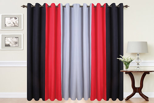 Three Tone Eyelet Ring Top Curtains Red