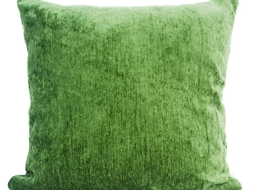 "Plain Soft Chenille Cushions or covers Green 17""x 17"""