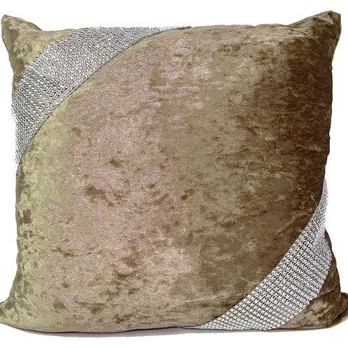 Crush velvet Cross Lace Diamante cushions-Beige