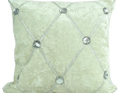 Crush velvet Chesterfield Diamante cushions-Cream