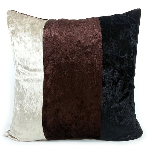 Large Three tone Crush velvet cushions Brown