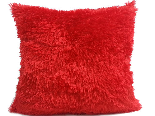 soft faux fur cushions or covers RED, 2 sizes
